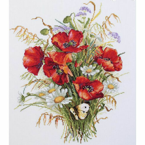 Poppies And Oats Cross Stitch Kit