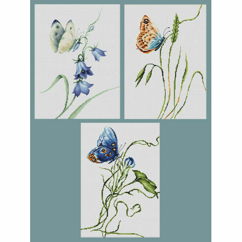 Set Of 3 Butterfly Bestsellers Cross Stitch Kits - Summer Delight, Emotion, Smell Of Summer