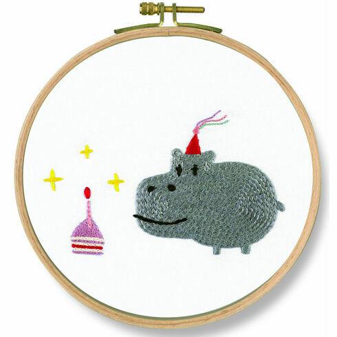 Birthday! Hippo Embroidery Kit