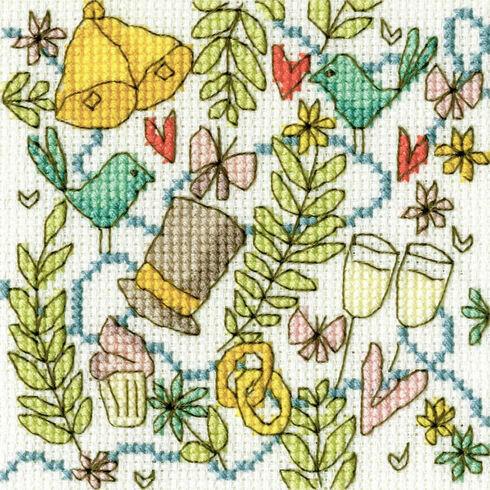 Top Hat Cross Stitch Wedding Card Kit