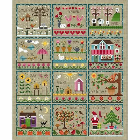 Little Dove's Year (Taupe) Cross Stitch Kit