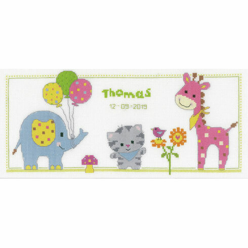 Kitten & Friends Birth Sampler Cross Stitch Kit