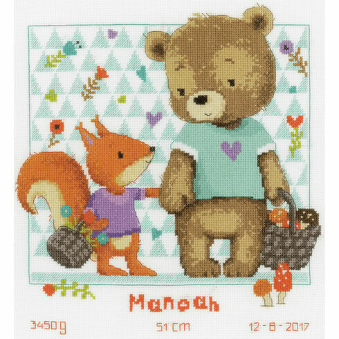 Bear & Squirrel Birth Sampler Cross Stitch Kit