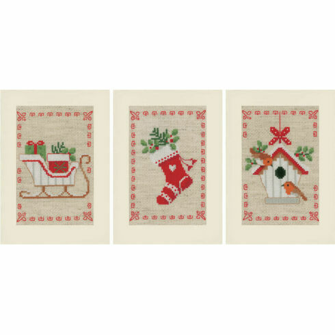 Christmas Wish Cards - Set Of 3 Cross Stitch Card Kits
