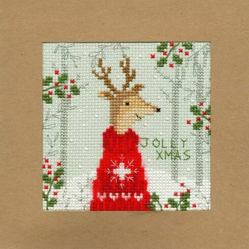 Xmas Deer Cross Stitch Christmas Card Kit