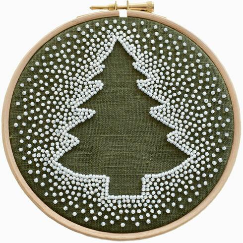 White Christmas Tree Beadwork Embroidery Kit