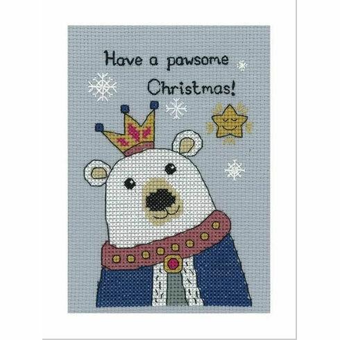 Bruce Polar Bear Cross Stitch Christmas Card Kit