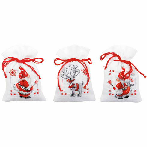 Christmas Elves Pot Pourri Bags Set of 3 Cross Stitch Kits