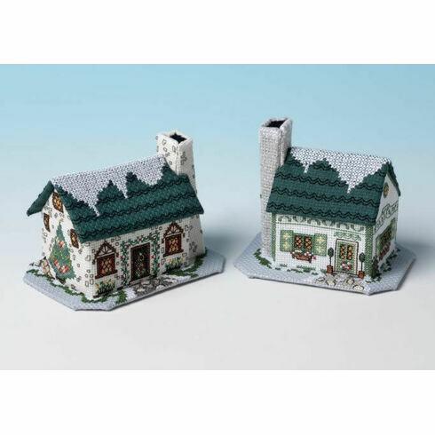 Christmas Tree Cottage & Mistletoe Cottage 3D Cross Stitch Kits - Set of 2