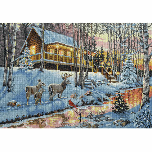 Winter Cabin Cross Stitch Kit