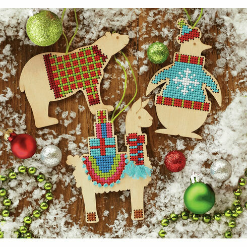 Wooden Animal Ornaments Cross Stitch Kit (set of 3)