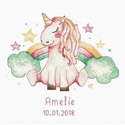 Unicorn & Rainbow Cross Stitch Birth Sampler Kit