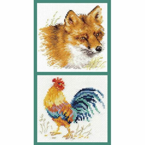 Fox & Cockerel Cross Stitch Kits - Set of 2