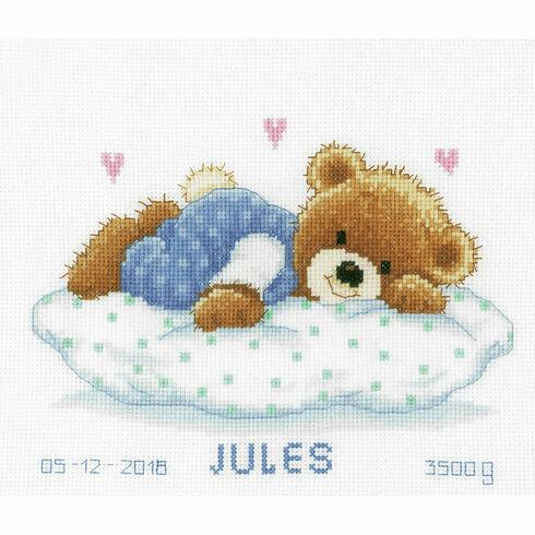Snoozing Teddy Bear Birth Sampler Cross Stitch Kit