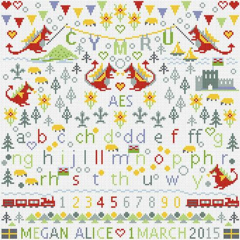 Little Welsh Dragons Birth Sampler Cross Stitch Kit
