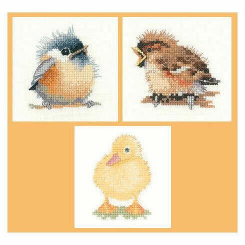 Little Friends Set Of 3 Cross Stitch Kits - Chickadee, Duckling & Sparrow