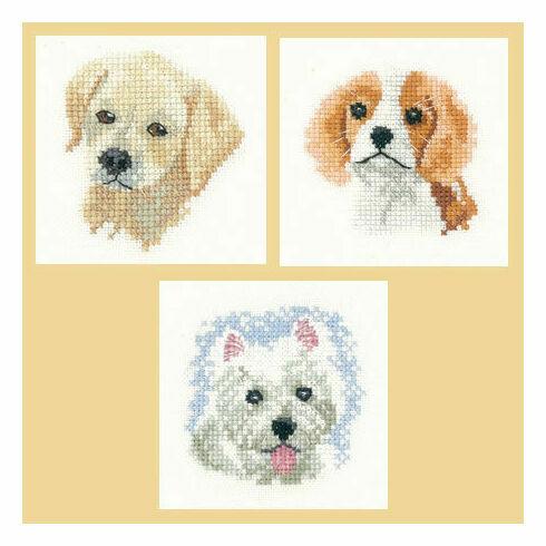 Little Friends Set Of 3 Cross Stitch Kits - Labrador Puppy, Spaniel Puppy, Westie Puppy