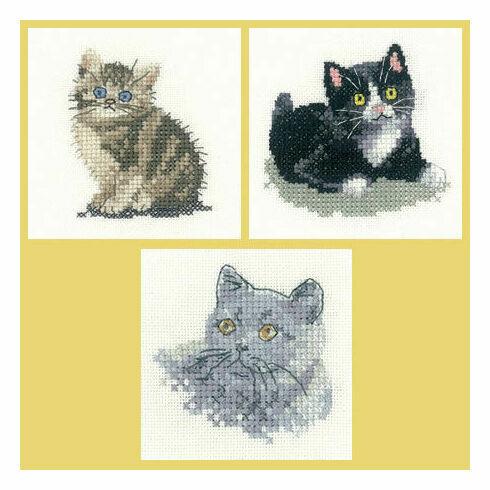 Little Friends Set Of 3 Cross Stitch Kits - Black & White Kitten, Tabby Kitten, British Blue