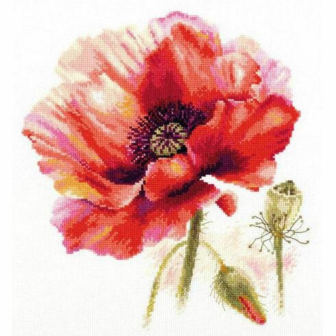 Bright Red Poppy Cross Stitch Kit