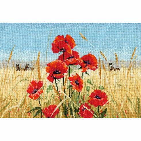 Summer, Field, Poppies Cross Stitch Kit