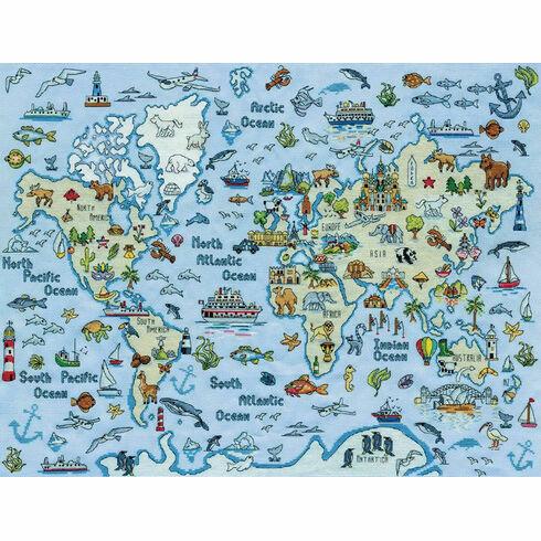 World Map Cross Stitch Kit