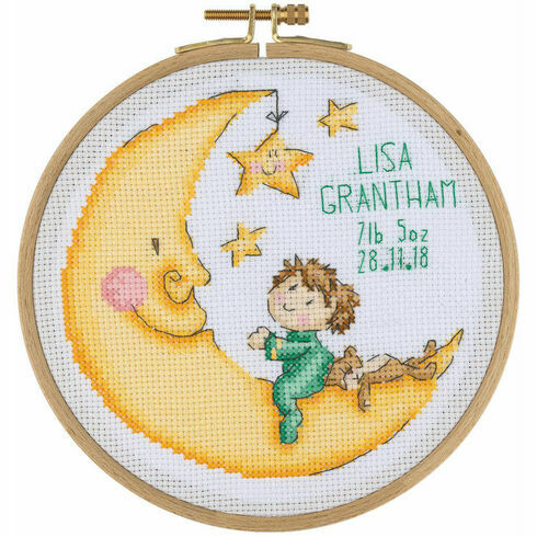 Goodnight Moon Birth Sampler Cross Stitch Hoop Kit