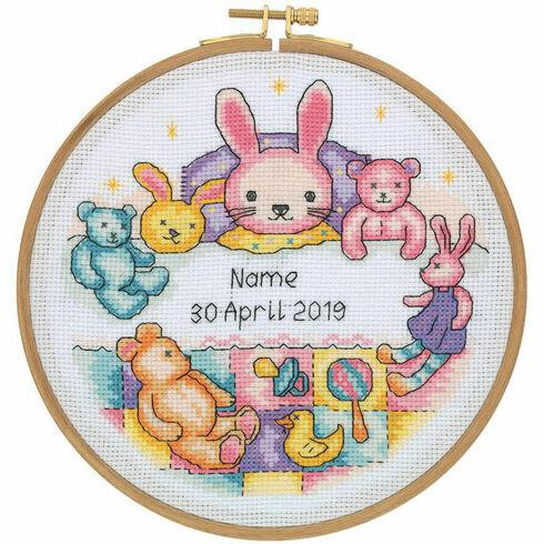 Patchwork Bunny Birth Sampler Cross Stitch Hoop Kit