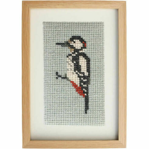Great Spotted Woodpecker Beadwork Embroidery Card Kit