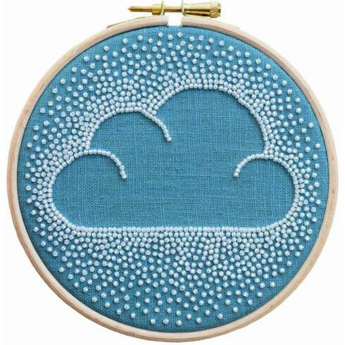 Beaded Cloud Hoop Embroidery Kit