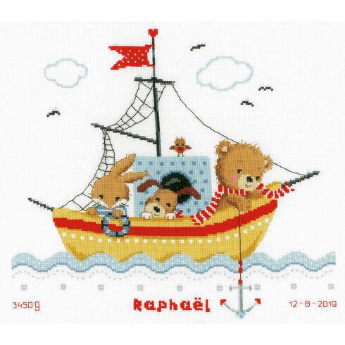 Sailing Boat Birth Sampler Cross Stitch Kit