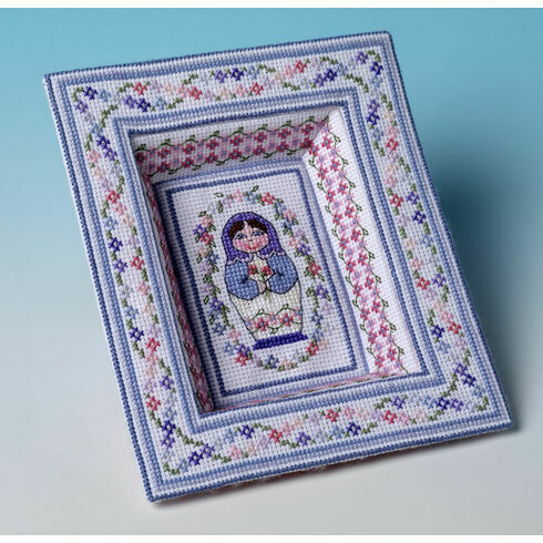 Blue Babushka Tray 3D Cross Stitch Kit