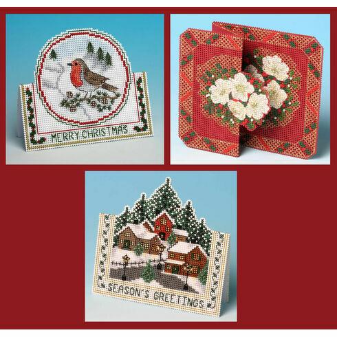 3D Christmas Cross Stitch Card Kits Set 2 - Christmas Robin, Christmas Village & Christmas Rose