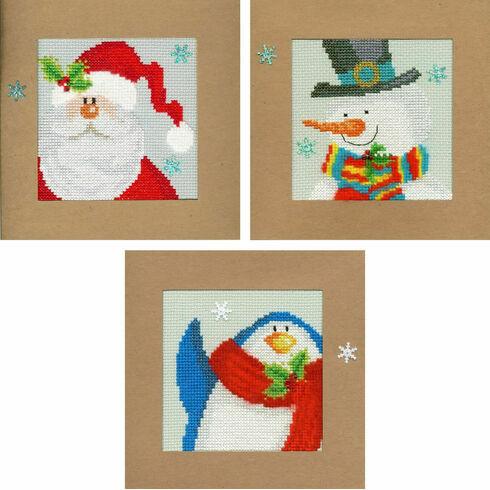 Snowy Set Of 3 Cross Stitch Card Kits