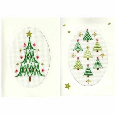 Christmas Tree & Forest Cross Stitch Card Kits - Set of 2