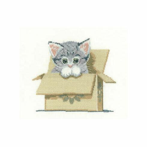 Cat In Box Cross Stitch Kit
