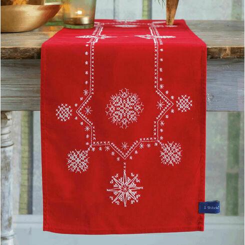 White Christmas Stars Embroidery Table Runner Kit