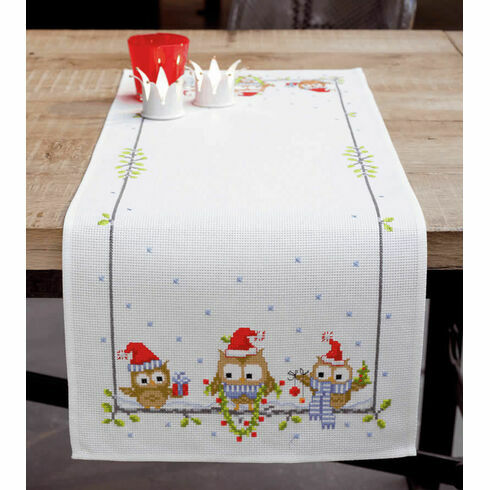Christmas Owls Counted Cross Stitch Table Runner Kit