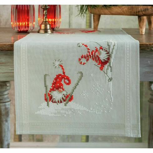 Christmas Elves Skiing Embroidery Table Runner Kit