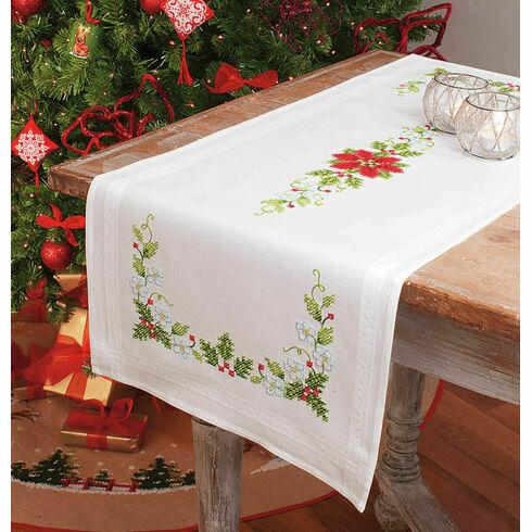 Poinsettia Table Runner Embroidery Kit