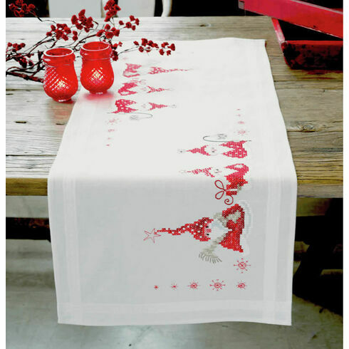 Three Wise Christmas Gnomes Embroidery Table Runner Kit