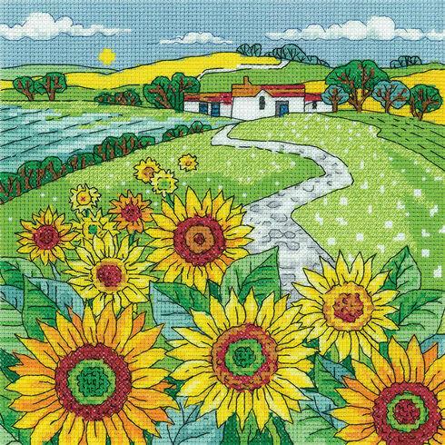 Sunflower Landscape Cross Stitch Kit