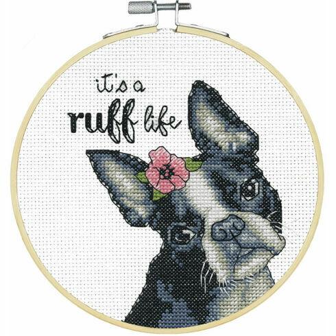 It's A Ruff Life Cross Stitch Hoop Kit
