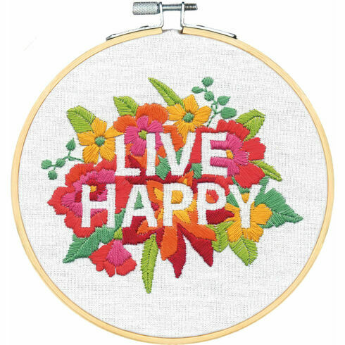 Live Happy Embroidery Hoop Kit