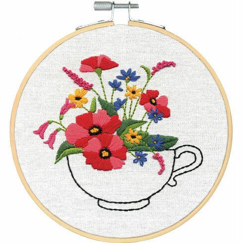 Cup Of Flowers Embroidery Hoop Kit