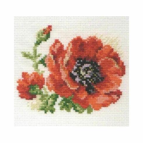 Poppy Flower Cross Stitch Kit
