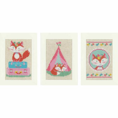 Little Fox Set Of 3 Cross Stitch Card Kits
