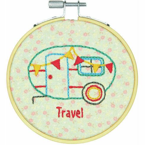 Camper Embroidery Hoop Kit