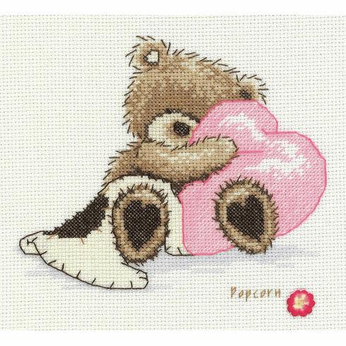 Popcorn Bear Dreaming Cross Stitch Kit