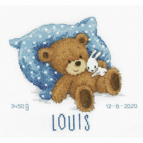 Sweet Bear Birth Sampler Cross Stitch Kit