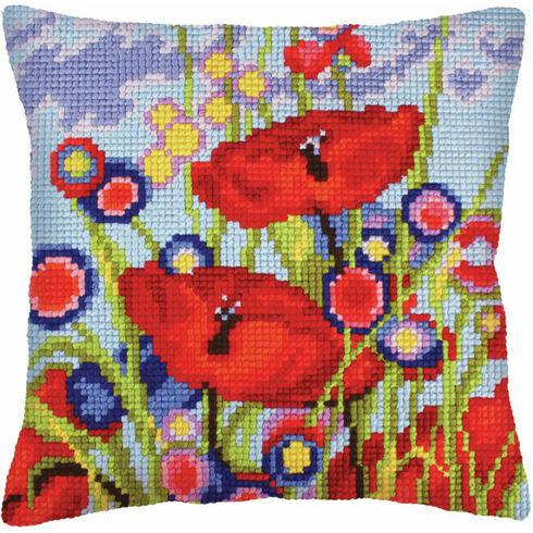 Red Poppies 1 Chunky Cross Stitch Cushion Panel Kit